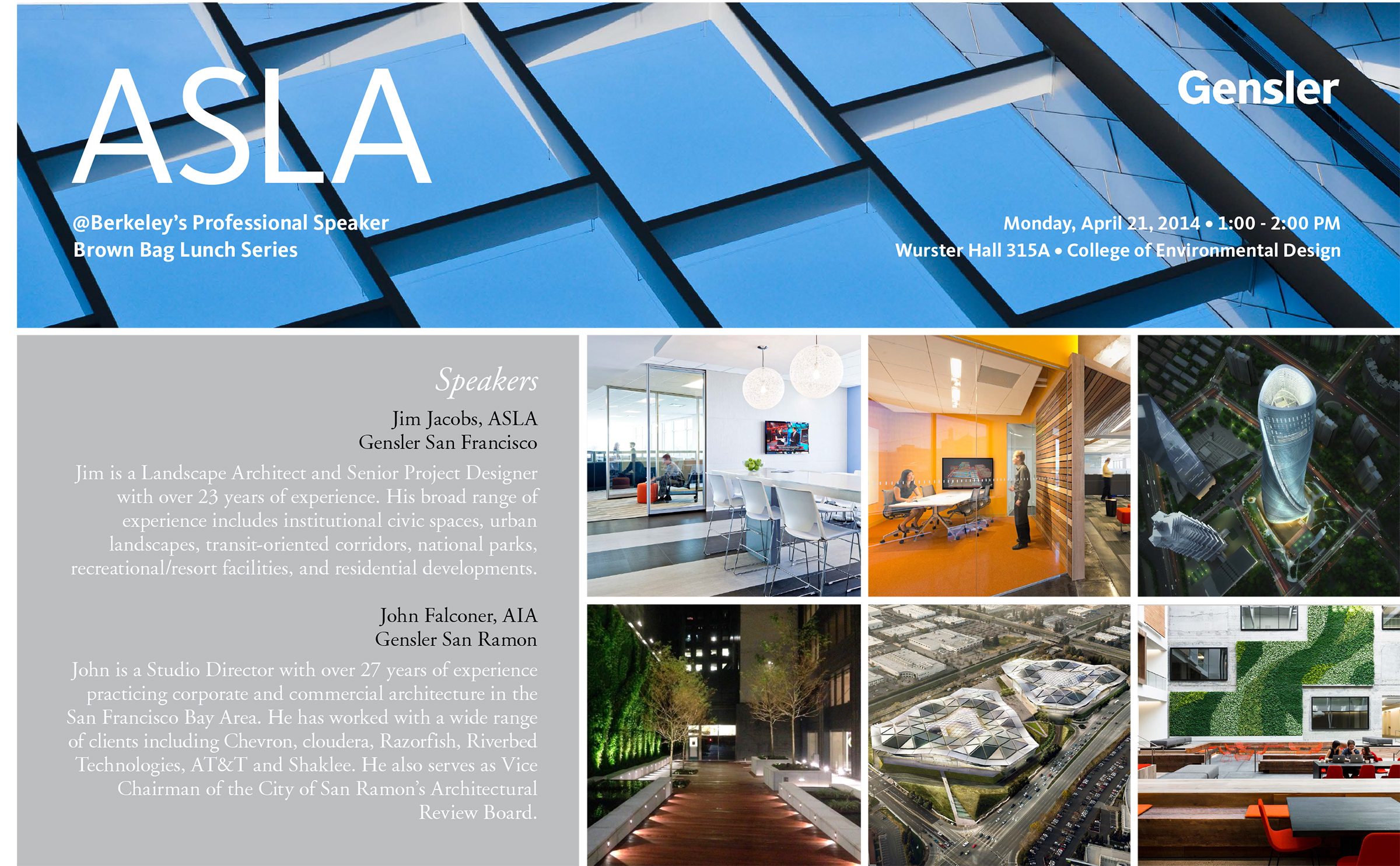 ASLA@Berkeley Speaker Series Presents Gensler | Mon, April 21st | 1PM